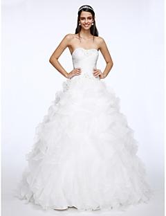 LAN TING BRIDE Linha A Vestido de casamento Inspiração Vintage Cauda Capela Coração Organza com Miçanga Cruzado