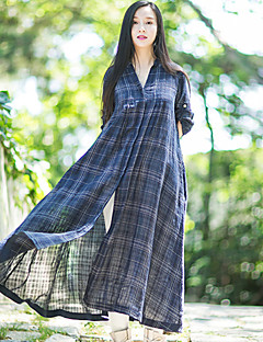 Ramie Cotton Women's Casual/Daily Simple Fall ShirtPlaid Stand  Sleeve Blue Linen Opaque