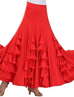 ריקודים סלוניים חלקים תחתונים בגדי ריקוד נשים הופעה פוליאסטר מילק פייבר שכבות מדורגות עטוף חלק 1 בלי שרוולים נפול חצאית