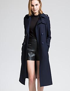 BORME® Dame Skjortekrage Langt Erme Trenchcoat Lysegrønn-Y051