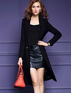 Women's Plus Size Street chic Trench CoatSolid Notch Lapel Long Sleeve Fall / Winter Black Polyester Medium