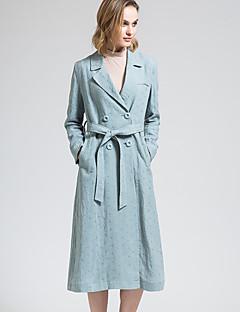 BORME® 여성 셔츠 카라 긴 소매 트렌치 코트 시안-Y050