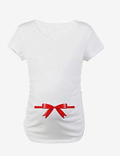 カジュアル/普段着 夏 Tシャツ,キュート ラウンドネック ソリッド コットン スパンデックス 半袖 薄手