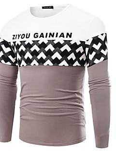 Men's Print / Striped / Plaid / Solid / Letter Casual / Work / Formal / Sport / Plus Size T-ShirtCotton