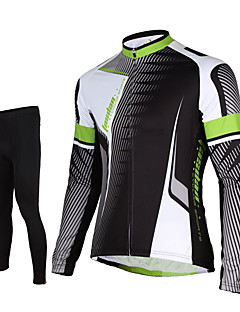 Sports Cycling Jersey with Tights Men's Long Sleeve BikeBreathable / Quick Dry / Front Zipper / Compression / 3D Pad / Reflective Strips