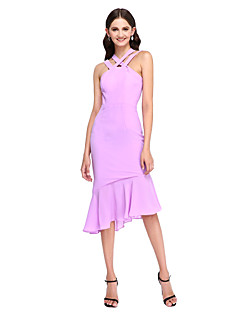 Lanting Bride® Asymmetrical Chiffon Bridesmaid Dress - Elegant Fit & Flare Straps with Ruffles