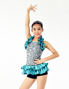 Jazz Outfits Women's / Children's Performance Spandex /Paillettes / Ruffles / Sequins 4 Pieces Blue Jazz Sleeveless