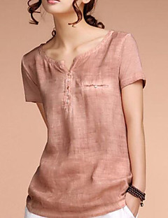 Women's Solid All Match Simple Street chic Fashion Fabric T-shirt,V Neck Short Sleeve