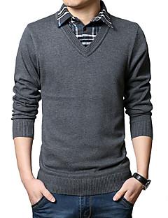 Menn Fritid / Plusstørrelse Ruter Pullover,Ull / Bomull Langermet Svart / Grå