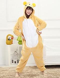 Unisex Cashmere / Polyester Cute Bear Cartoon Onesie Pajama Winter Thick Sleepwear Yellow
