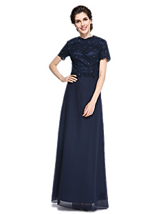 LAN TING BRIDE Sheath / Column Mother of the Bride Dress - Elegant Floor-length Short Sleeve Chiffon Lace with Lace