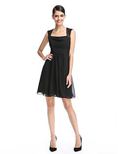 2017 ts couture® prom cocktail party dress a-lijn vierkante korte / mini chiffon / kant met kant / ruching
