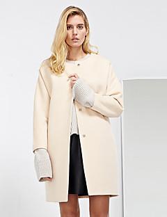 Casual/hétköznapi Egyszerű Téli-Női Kabát,Egyszínű / Színes Kerek Hosszú ujj Bézs Gyapjú / Poliészter Közepes vastagságú