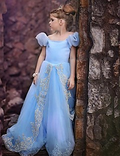 Fashion Blue Short sleeve Flower Girl Dresses Pageant Dresses Halloween dress Vestidos