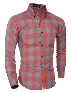 Men's Casual Classic Large Grid Long-sleeved Cotton Long Sleeve Shirt