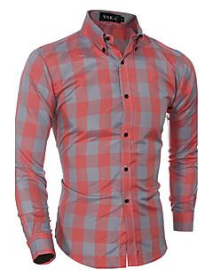 אנשיו של חולצה משובץ כותנה שרוול ארוך יום יומי / רשמי אדום / אפור