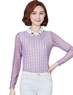 Women's Going out / Casual/Daily Street chic Spring / Fall Lace BlousePatchwork / Embroidered  Blue / White / Purple