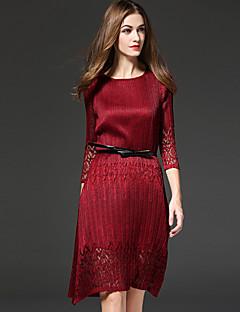 Hülle Kleid Anspruchsvoll Solide Rundhalsausschnitt Übers Knie ¾-Arm Rot / Schwarz Polyester Herbst Mittlere Hüfthöhe Unelastisch Mittel