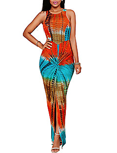 Women's Going out / Party/Cocktail / Club Sexy / Simple Bodycon DressPrint Round Neck Maxi Sleeveless Red Polyester