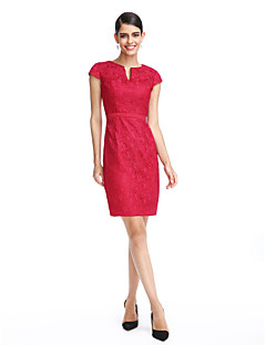Cocktail Party Dress Sheath / Column Notched Knee-length Lace with Sash / Ribbon