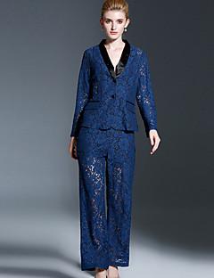 Damen Solide Retro Formal Set Hose Anzüge,Schal Revers Frühling Langarm Blau Baumwolle / Polyester / Nylon / ElasthanUndurchsichtig /