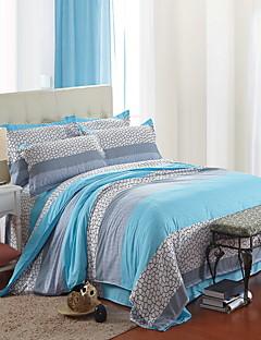 Blumen Bettbezug-Sets 4 Stück Polyester Muster Reaktivdruck Polyester ca. 1,50 m breites Doppelbett1 Stk. Bettdeckenbezug / 2 Stk.