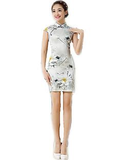 한 조각/드레스 코스프레 로리타 드레스 플로럴 짧은 소매 중간 길이 에 대한 폴리에스테르