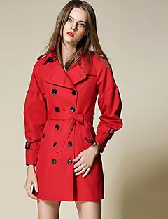 Damen Solide Einfach Arbeit Trenchcoat,Winter Steigendes Revers Langarm Rot / Beige Mittel Baumwolle / Polyester