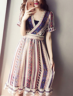 Maternity Holiday Boho Loose Dress,Galaxy V Neck Knee-length Short Sleeve Blue Cotton Summer