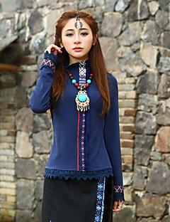 Mulheres Camiseta Happy-Hour Vintage Primavera / Outono,Geométrica Azul / Roxo Algodão / Elastano Gola Redonda Manga Longa Média