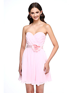 Lanting Bride®Short / Mini Chiffon Bridesmaid Dress - Mini Me A-line Sweetheart with Flower(s) / Sash / Ribbon / Criss Cross