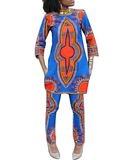 Damen Druck Retro Ausgehen / Lässig/Alltäglich T-shirt Hose,Rundhalsausschnitt Alle Saisons ¾-Arm Blau / Mehrfarbig Polyester