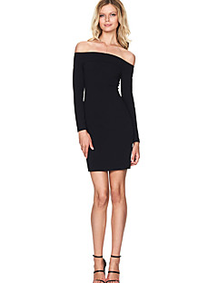 Women's Formal / Party / Club Sexy / Simple / Street chic Bodycon DressSolid Boat Neck