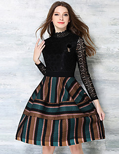 Women's Going out / Party/Cocktail / Holiday Vintage / Street chic / Sophisticated A Line Striped Turtleneck Dress