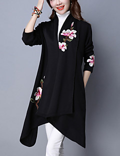 Women's Casual/Daily Vintage Trench Coat Embroidered Shirt Collar Long Sleeve Fall / Winter Black / Gray Cotton Medium