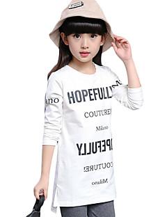 Mädchen T-Shirt-Lässig/Alltäglich einfarbig Baumwolle / Elasthan Frühling / Herbst Weiß / Grau