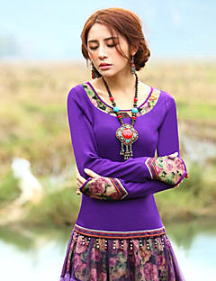 Our Story  Going out Vintage Spring / Fall T-shirtFloral Round Neck Long Sleeve Purple Rayon / Polyester