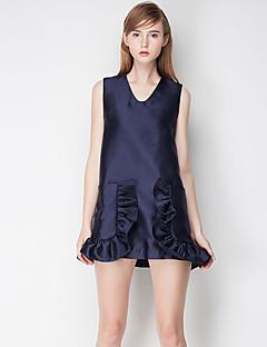 Damen A-Linie Kleid-Ausgehen Einfach / Niedlich Solide V-Ausschnitt Übers Knie Ärmellos Blau Polyester Sommer Mittlere Hüfthöhe