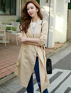 Polyester Blå / Beige Medium Langermet,Skjortekrage Trenchcoat Ensfarget Vintage / Gatemote / SofistikertUt på byen / Fritid/hverdag /