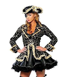 Cosplay Kostumer Festkostume Pirat Festival/Højtider Halloween Kostumer Sort Trykt mønster Kjole Hat Halloween Karneval Kvindelig Terylene