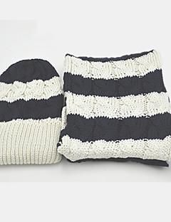 Damen Freizeit Baumwolle Schal,Rechteck Gestreift Winter Blau / Braun