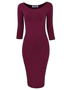 Women's Party/Cocktail / Club Sexy / Simple Bodycon DressSolid Round Neck Knee-length  Sleeve
