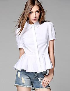 AJIDUO® Női Állógallér Rövid ujjú Shirt és blúz Ivory-A8610
