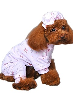 Cute Bear Pattern Cotton Pajamas with Nightcap for Pets Dogs (Assorted Sizes and Colours)