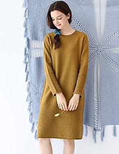 Idylle Insel Frauen Ausgehen / casual / täglich einfach eine Linie dresssolid Rundhals knielangen lange Ärmel Wolle Herbst