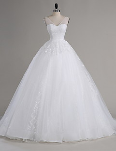 A-line Wedding Dress Chapel Train V-neck Tulle with Appliques