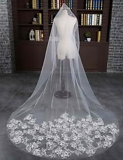 Wedding Veil One-tier Chapel Veils Cut Edge Tulle / Lace Ivory  Flowers