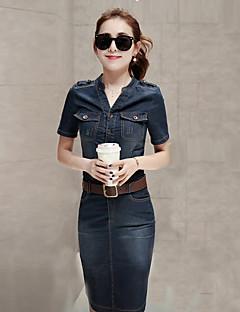 Damen Hülle Kleid-Ausgehen Einfach Solide Hemdkragen Übers Knie Kurzarm Blau Baumwolle Sommer Mittlere Hüfthöhe Mikro-elastisch Mittel