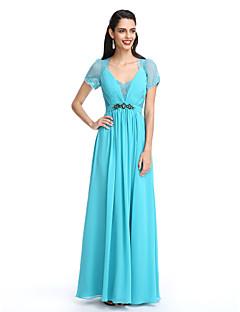 2017 ts couture® formell kveld kjole a-linje Queen Anne fotsid chiffon / blonder med side drapering
