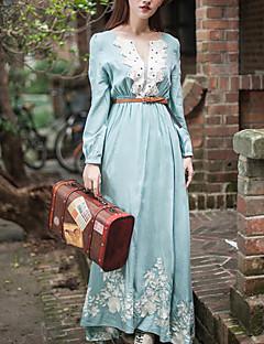 De las mujeres Corte Swing Vestido Vintage / Casual Floral Maxi Escote Redondo Raso / Encaje